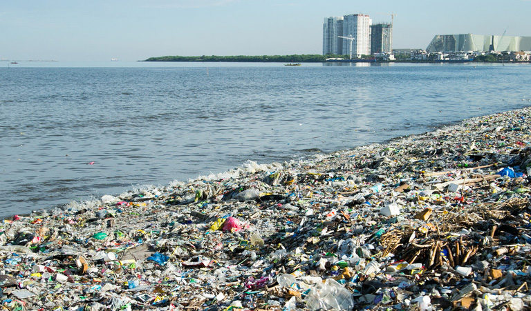 The coast of Freedom Island in Metro Manila teems with trash in this photo taken in 2017. Image courtesy of Greenpeace.