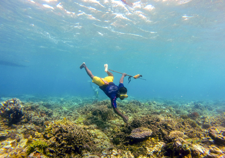 A spearfisher fishing on the reef near the village of Suco Adara on Atauro Island, Timor-Leste. In 2016, the village enacted a tara bandu designating no-fishing zones. Image by Alex Tilley/WorldFish.