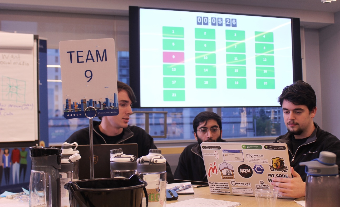 The final seconds slip away as the last team struggles to submit their software design.