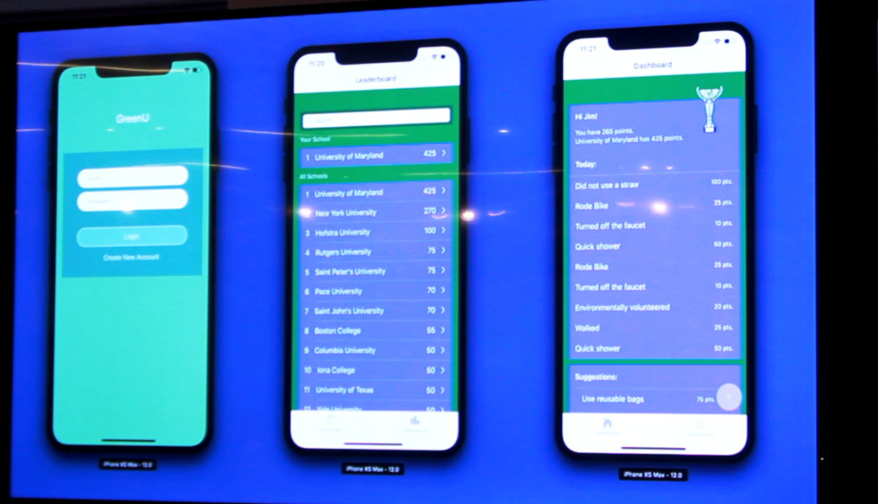 One of the finalist prototypes from the Jersey City Code for Good Hackathon: a phone app that rewards points on a leaderboard to universities and students for sustainable habits.