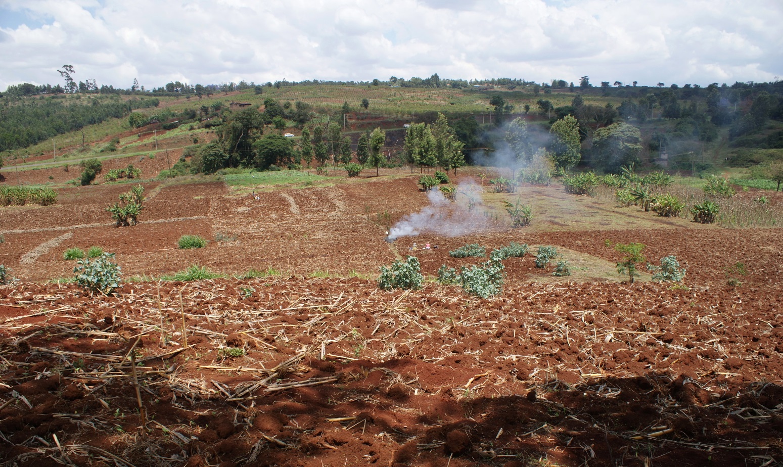 Farmers burning farm waste in preparation of the planting season in central Kenya. When left unchecked such fires can spread into forests and raze acres of the natural ecosystem.
