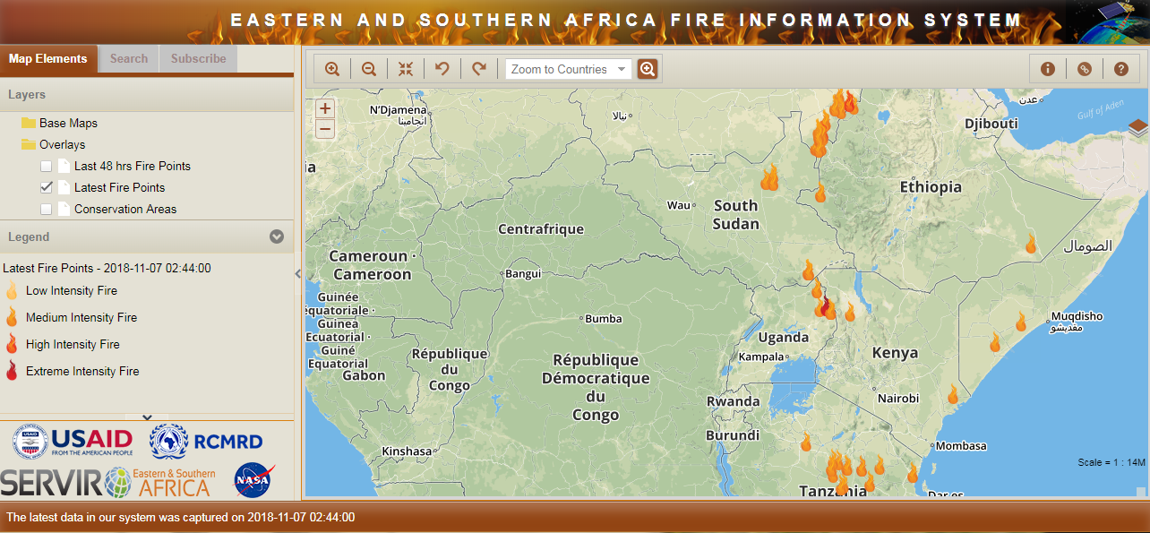 Screenshot of the ESAFIS home page map with icons designating fire hotspots across eastern Africa.