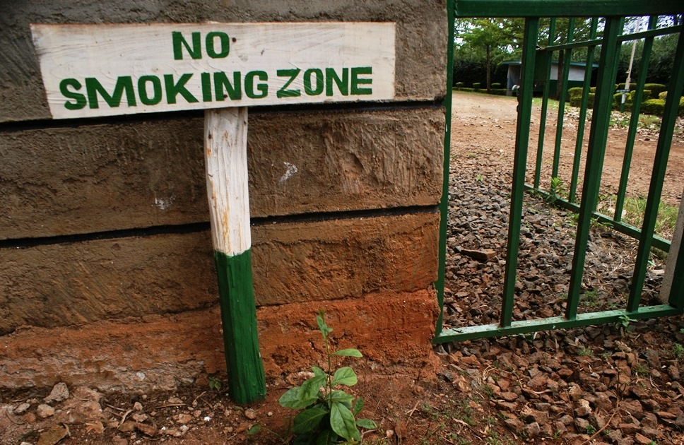 no smoking sign at the ecosystem conservation offices in Nyeri central Kenya warns a visitor that the threat of fire outbreaks is real. The office serves as a deployment base to fight off fire outbreaks Aberdare Forest Reserve.