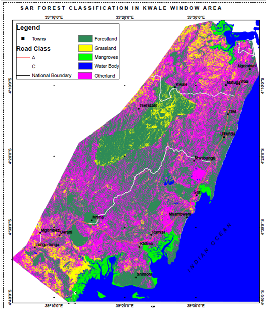 The resulting forest classification map for Kwale County, along Kenya's coast.