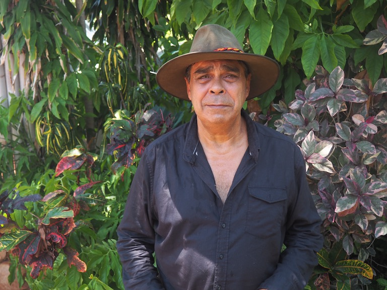 Micklo Corpus, a Yawuru Traditional Owner. Fracking wells have been installed on Yawuru land. Image by Nick Rodway for Mongabay.
