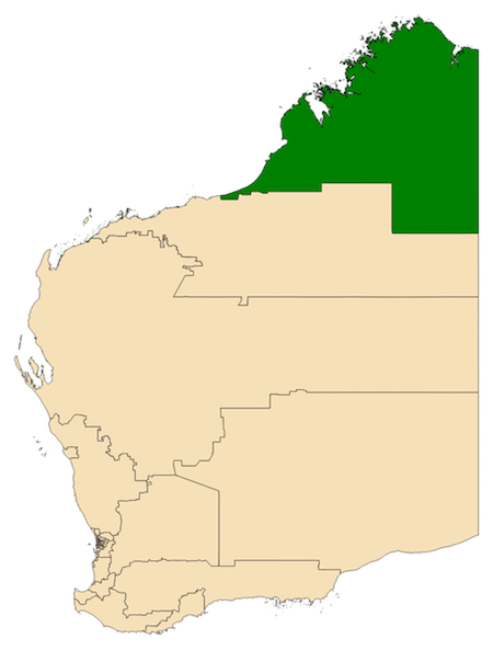 Map of the electoral district of the Kimberley in the state of Western Australia as of 2017. Image by Canley via Wikimedia Commons (CC BY 4.0).