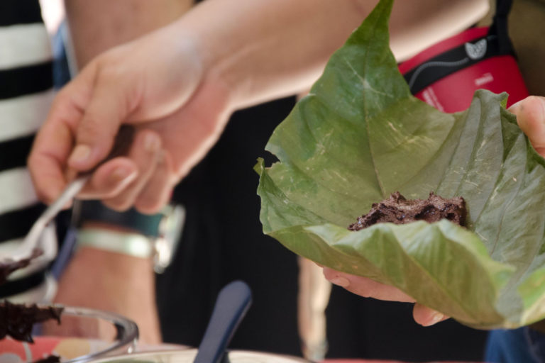 Chocolate is wrapped in a cocoa tree leaf. Photo by Sarita Reed.