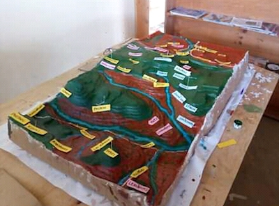 A three-dimensional map of Mukogodo Forest the Yiaku used to plan reforestation and enforcement efforts. The map was destroyed by herders who invaded the forest in search of pasture last year. Image courtesy of the Yiaku Laikipiak Trust.