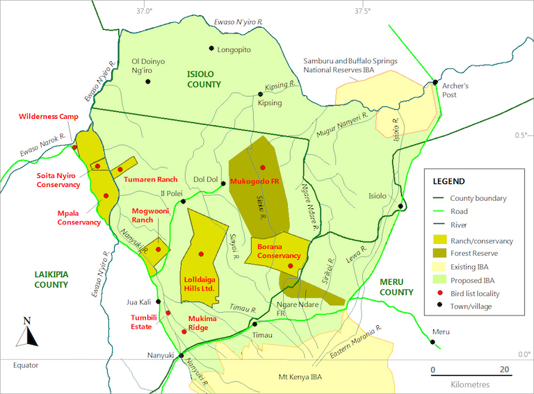 Map of Isiolo, Meru, and Laikipia counties in central Kenya shows Mukogodo Forest (center). Cick here to enlarge. Image by Yvonne A. de Jong and Thomas M. Butynski, wildsolutions.nl.