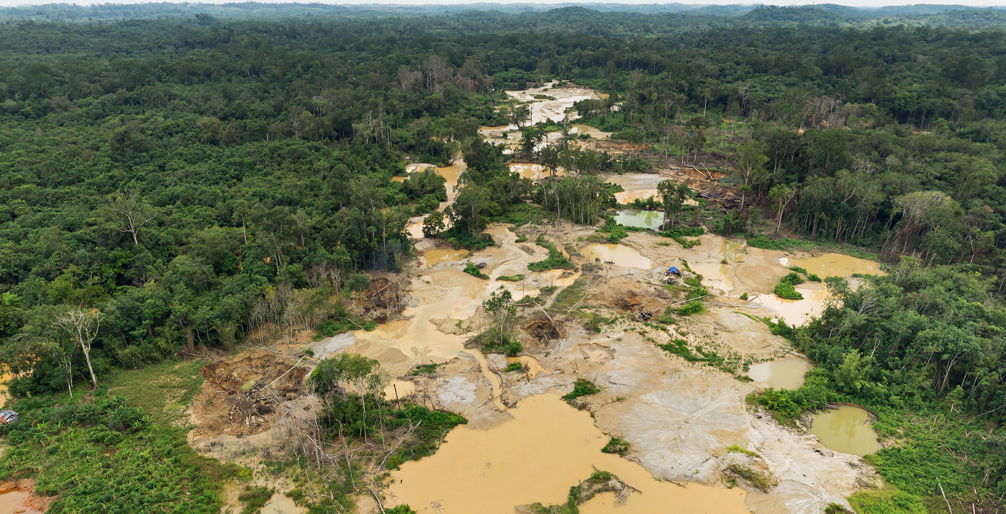 Extract of an aerial 360° of an informal gold mine in Central Kalimantan, Indonesia. Click the image to see the full panorama.