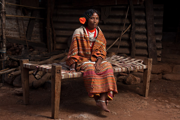 Dinja Jakesika, the village head or sarpanch of the Kurli Gram Panchayat. Image by Indrajeet Rajkhowa.