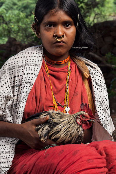 A Dongria girl holds a chicken in Hundijali village. Chickens are often used as barter during seed exchanges between different Dongria communities. Image by Indrajeet Rajkhowa.
