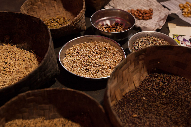 Forgotten varieties of paddy, millets, beans, oilseeds and pulses stored in a Dongria household. Image by Indrajeet Rajkhowa.