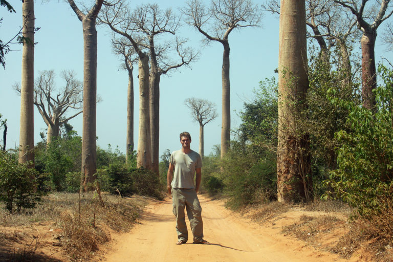 Me among baobabs in Madagascar in 2004.