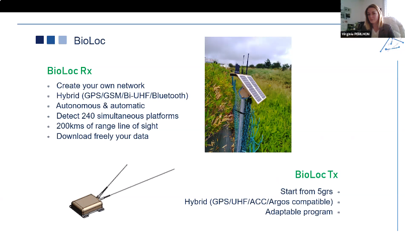 Depiction of the tiny (5-10 gram) tracking tags and a solar-powered receiving station within a private closed BioLoc network.