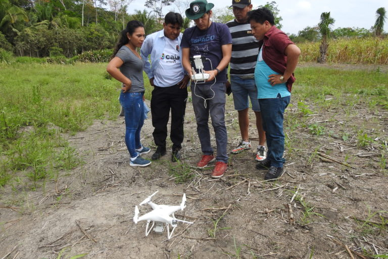 Madre de Dios forestry dealers learn to use a small quadcopter drone to monitor their forests.