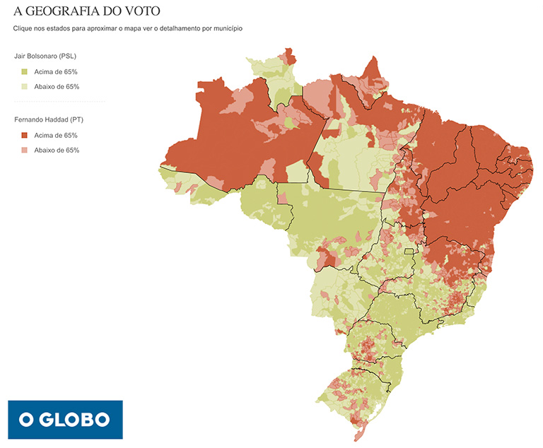 Brazil's President-elect Jair Bolsonaro won strong support (color, left) in the counties (municípios) that produce soybeans (color, right). He also won support in some places where agroindustry is not yet present at scale, but where crime is particularly high, like the western frontier state of Acre (AC).