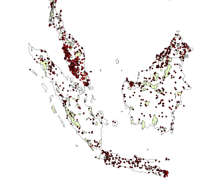 Distribution of galliform records outside protected areas in Sundaland. Records from eBird are in red, records from other sources in brown. Protected areas are in green. This map is in the supporting information section of Boakes et al. (2018)