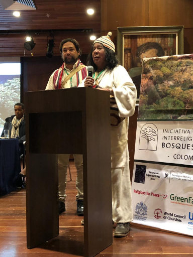 Speakers representing Indigenous communities speak at the Interfaith Rainforest Initiative Colombia event in November 2018. Credit: Interfaith Rainforest Initiative