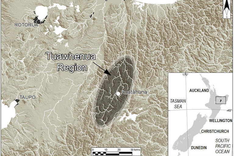 "Location of the Tuawhenua region and community of Ruatāhuna within the forested mountainous region of Te Urewera on the North Island of New Zealand. Image courtesy of <a href=""https://link.springer.com/article/10.1007/s10531-016-1142-6"">Lyver et al. 2017</a>."