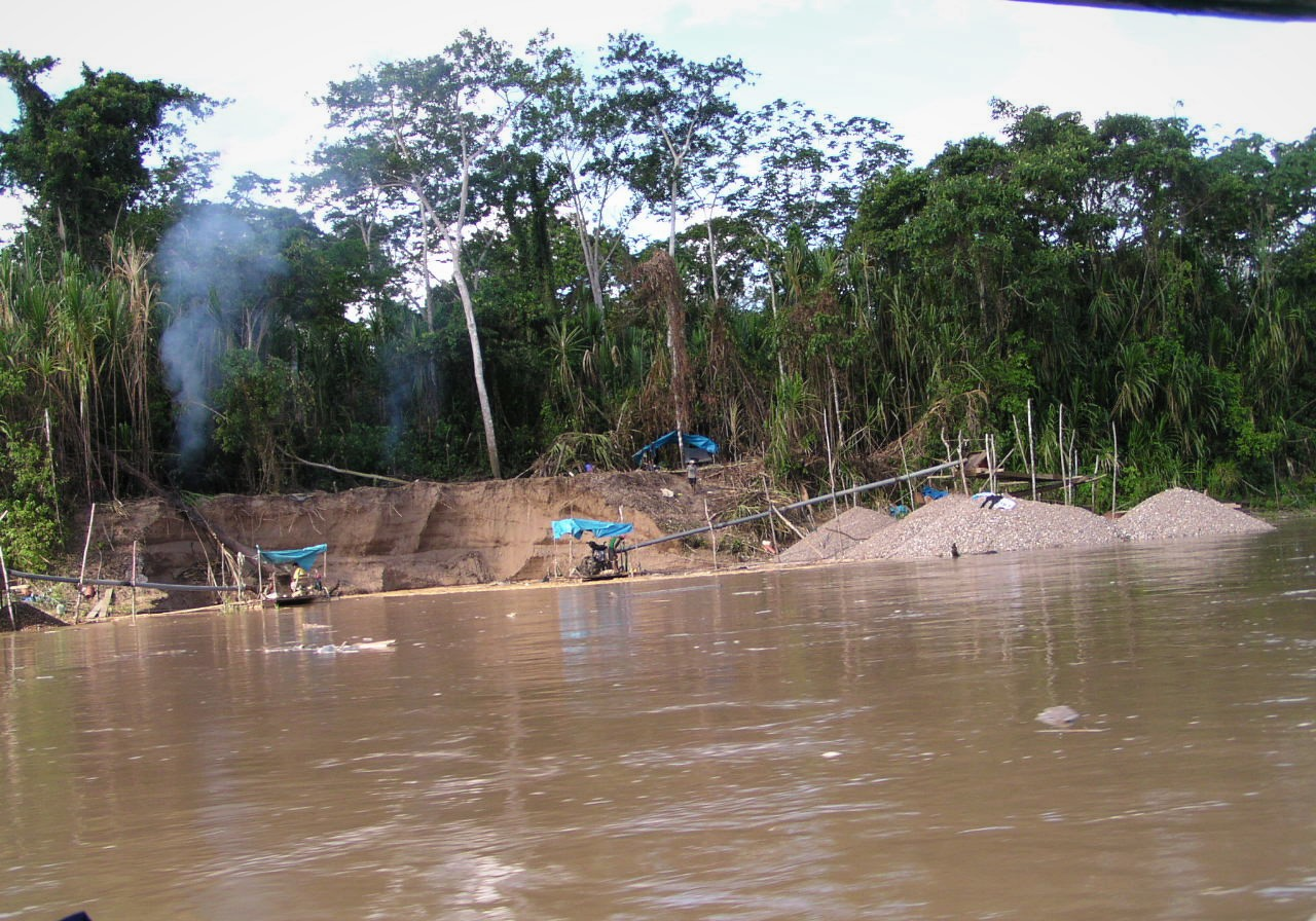 Small-scale gold mining operation along the Madre de Dios River in southeastern Peru. The miners scour the banks and bottom with high-powered water hoses, suck up the muddy mix, extract the gold from the sediment using mercury, and deposit piles of sediment along the sides of the river. The process dislodges the substrate, disturbs animals living at the bottom, releases chemicals and sediment into the water.