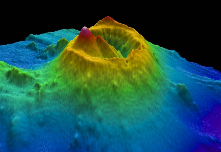3D image of Brothers Volcano in the Kermadec Arc, New Zealand. Image courtesy of New Zealand National Institute of Water and Atmospheric Research via Flickr (CC BY 2.0).