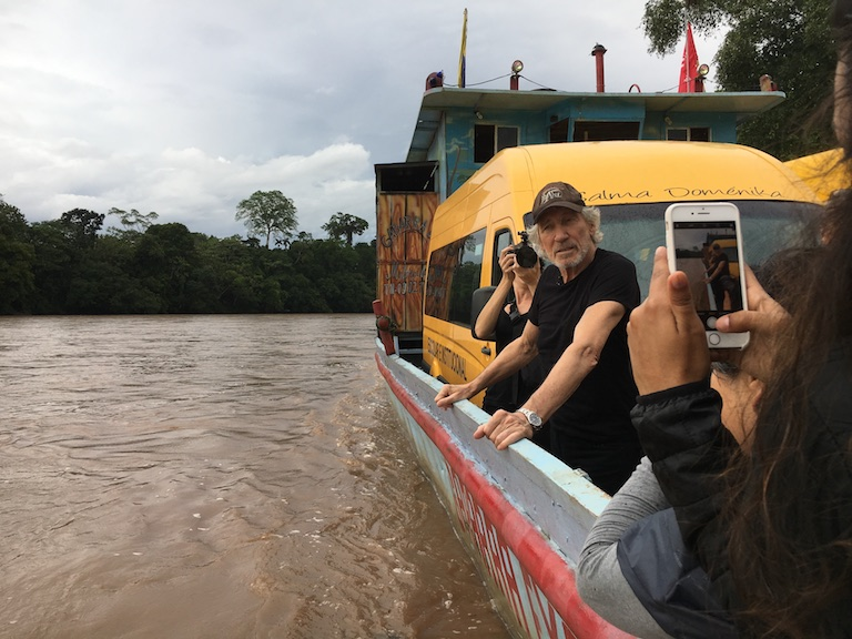 Roger Waters, former bassist and songwriter for the band Pink Floyd, visited the town of Lago Agrio in November to support Amazon communities in their legal fight against U.S. oil company Chevron, now in its 25th year. Image by Dan Collyns for Mongabay.