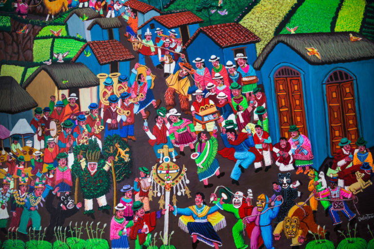 The paintings by Julio Toaquiza represent festivals that are celebrated in Tigua, especially the Christmas party. Photo by Jonatan Rosas for Mongabay.