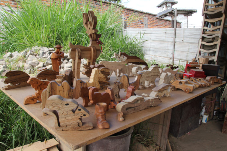 Some of Susana Simbana's wooden creations. Photo by Kimberley Brown for Mongabay.