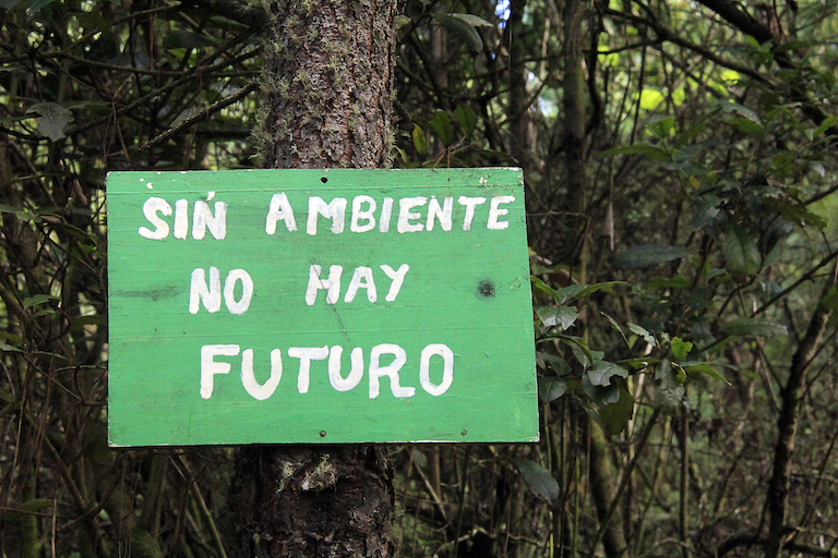"A sign inside Kum Kum Wutz park reads ""Without the environment there is no future."" Image by Jorge Rodríguez for Mongabay."