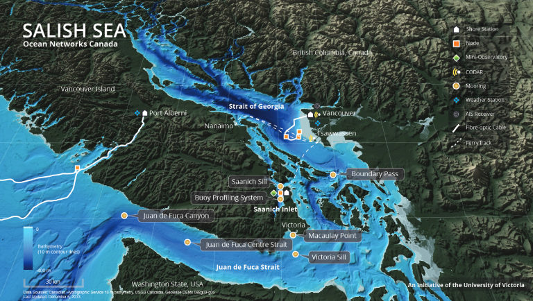Ocean Networks Canada installations and data sources in the Salish Sea. Image courtesy Ocean Networks Canada.