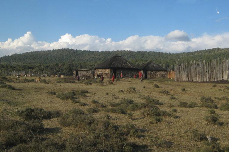 Loita-Purko (Maasai) village at the base of the Loita Hills