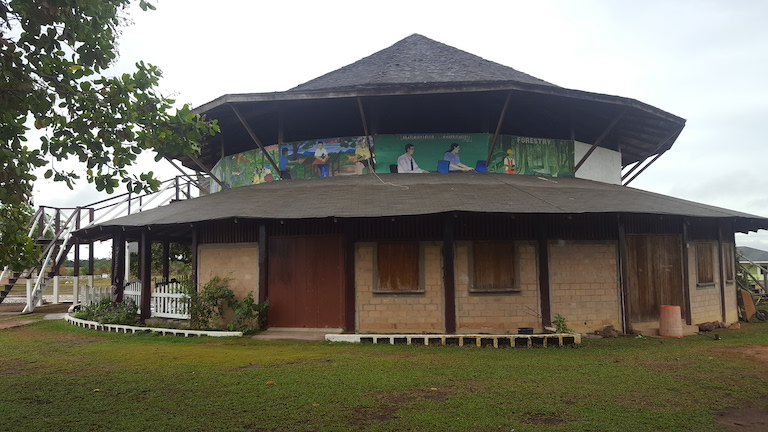 Murals on the Youth Learning Centre's main educational building portray the subjects taught inside, from agriculture to IT. Image by Carinya Sharples for Mongabay.
