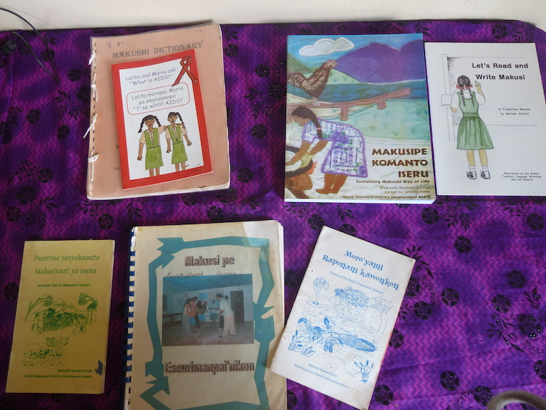 Dual language and research books published by the Makushi Research Unit, some of which the students use to learn Makushi. Image by Carinya Sharples for Mongabay.