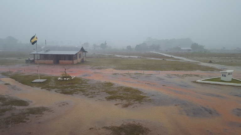 A view from the Bina Hill Institute administration building. When rainy season strikes, many local roads become almost inaccessible, making journeys to nearby villages or the closest town, Lethem, lengthy and very bumpy. Image by Carinya Sharples for Mongabay.