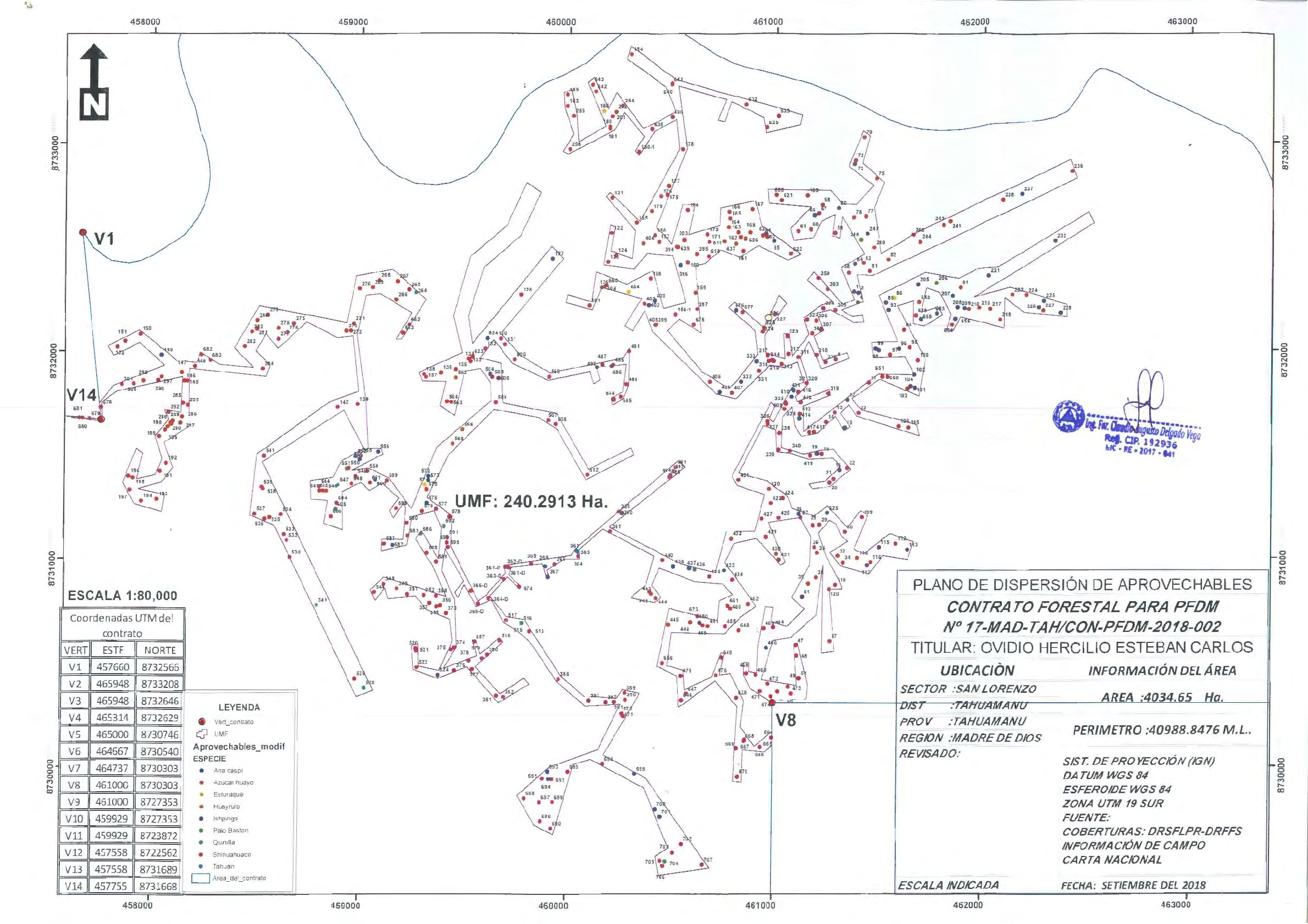 The approved map for timber extraction from a Brazil nut concession. The red dots are shihuahuaco trees. Source: Regional Department of Flora and Fauna of Tahuamanu.
