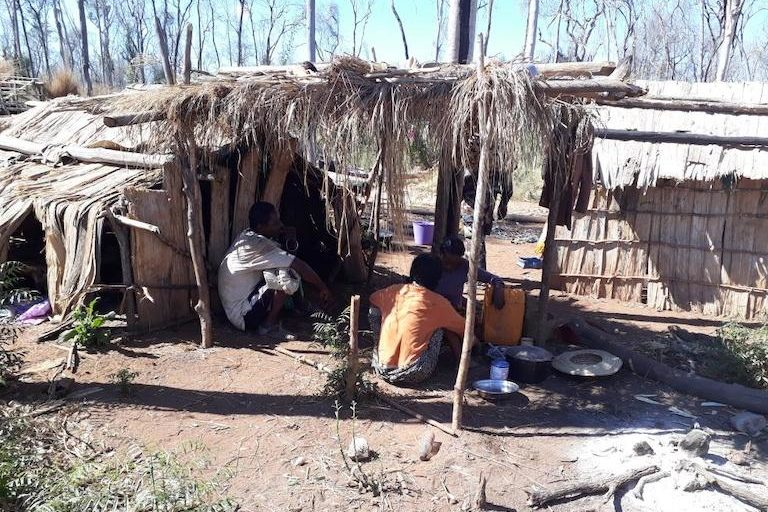 Workers rest at an Illegal camp inside the protected area's core conservation zone. Image courtesy of Durrell Wildlife Conservation Trust.