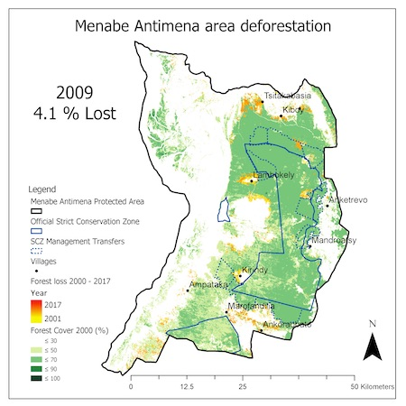 Map shows forest loss inside the Menabe Antimena Protected Area in 2009. Image courtesy of Durrell Wildlife Conservation Trust.