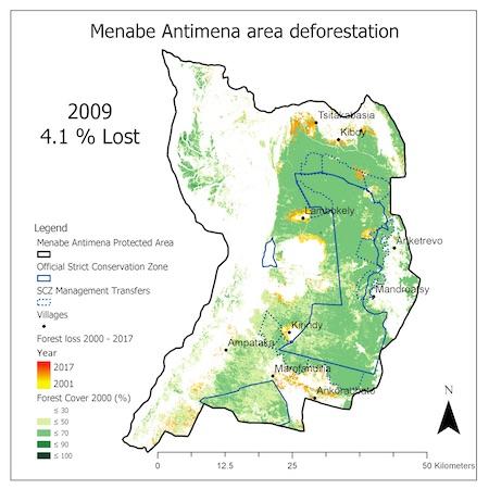La carte montre la perte de forêt dans la zone protégée de Menabe Antimena en 2009. Image reproduite avec l'aimable autorisation de Durrell Wildlife Conservation Trust.