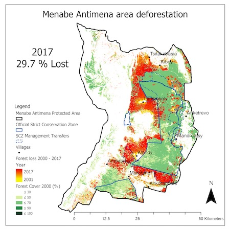 Maps show forest loss inside the Menabe Antimena Protected Area in 2017. Image courtesy of Durrell Wildlife Conservation Trust.