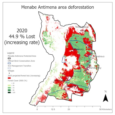 Map shows a forecast of how much forest could be lost by 2020. Images courtesy of Durrell Wildlife Conservation Trust.