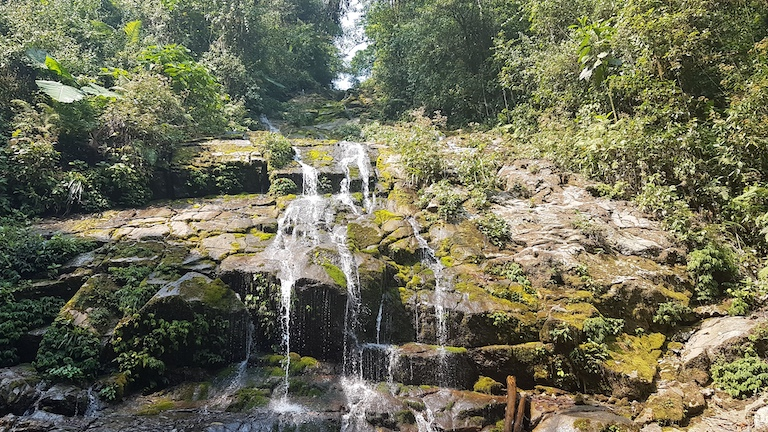 One of countless waterfalls within Cerro Amay, which supplies water to local communities living down below. Image courtesy of FUNDAECO.