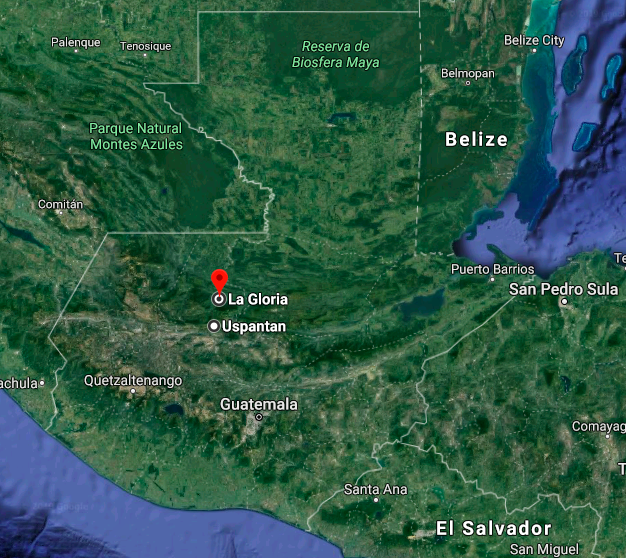 Map shows the location of La Gloria in central Guatemala. Image courtesy of Google Maps.