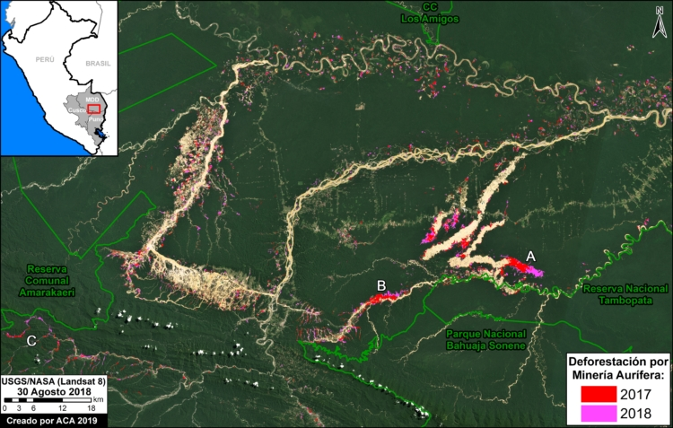 The map shows the progress of deforestation in the southern Peruvian Amazon. Image by MAAP/ACCA/ACA.