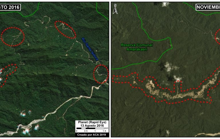In Camanti, Cusco, illegal gold mining is advancing toward Amarakaeri Communal Reserve. Image by MAAP/ACCA/ACA.