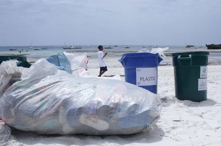 Garbage, mainly plastics, collected during the Watamu village cleanup. Image by Anthony Langat for Mongabay.