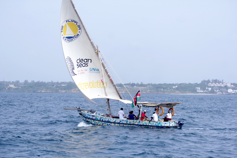 The Flipflopi under sail from Watamu to Kilifi, Kenya. Image by Anthony Langat for Mongabay.