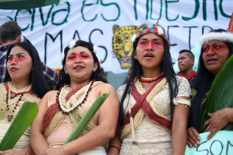 Waorani women in Quito at court proceedings. Photo by Sophie Pinchetti for Amazon Frontlines.