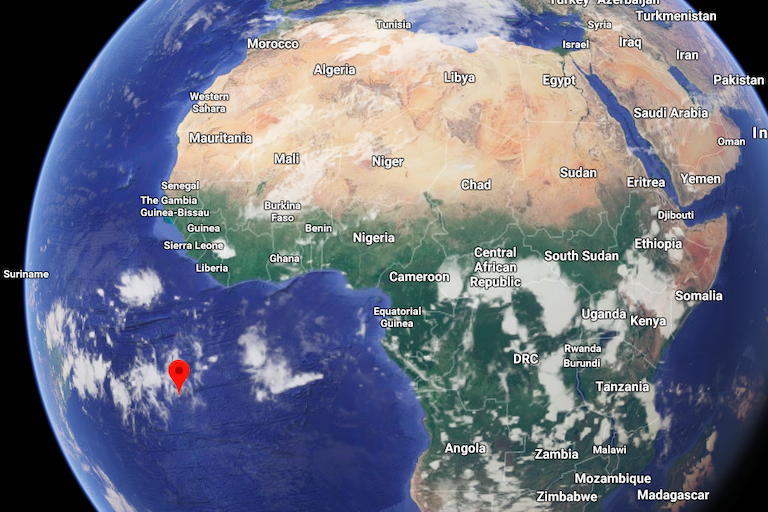 Map shows location of Ascension Island. Image courtesy of Google Maps.