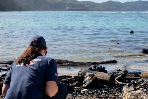 An Australian Embassy official surveys oil spill damage to the shoreline of Rennell Island. Image courtesy of Australian Dept of Foreign Affairs & Trade.